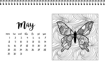 Desk calendar template for month May. Week starts Monday