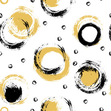 Hand drawn black and yellow paint strokes.