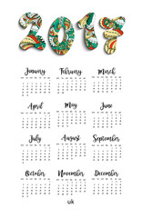 Calendar 2017 year on White Background.