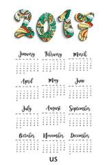 Big wall monthly calendar for New Year