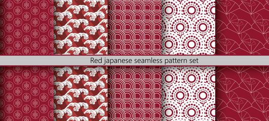 Red japanese seamless pattern set