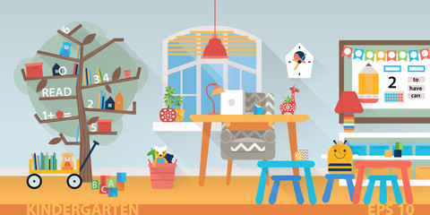 Kindergarten vector education interior. Learning and study place horizontal back banner.