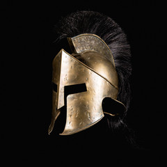 Fiction Spartan helmet on black background