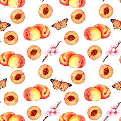 Hand-drawn watercolor seamless pattern with orange apricots, butterflies and flowers. Repeated background