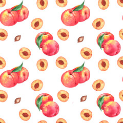 Hand-drawn watercolor seamless pattern with orange fresh peaches. Repeated background