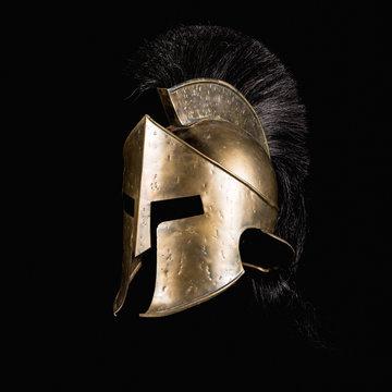 Fiction Spartan helmet on black background