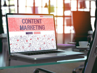 Content Marketing Concept on Laptop Screen. 3D Illustration.