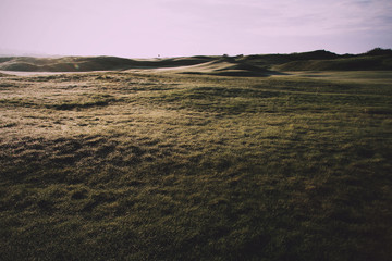 Golf course at dawn with low light Vintage Retro Filter.