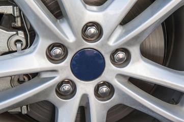 Closeup of wheel hub on car tyre