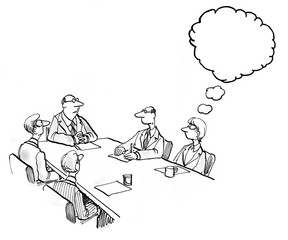 INSERT YOUR OWN TEXT.  Illustration of a business meeting and a businesswoman's thoughts.
