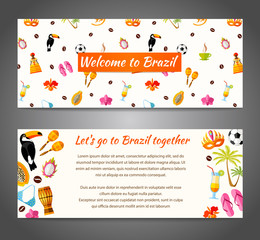 A banner with the famous Brazilian symbols, characters and space for text. Vector illustration. Template with South America icons in flat style.
