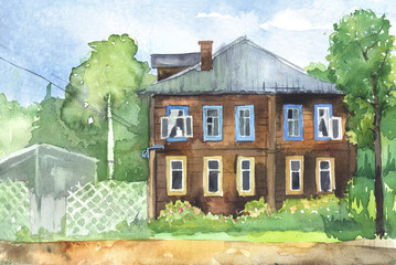 Watercolored illustration of a wooden house