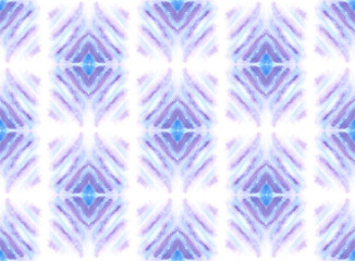 Seamless pattern with blue and purple abstract geometrical shapes painted in watercolor on white isolated background