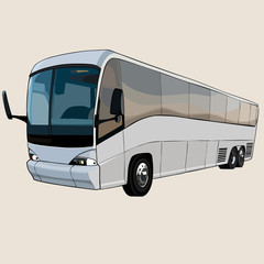 cartoon big bus with eyes