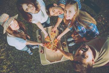 Сheerful friends on picnic