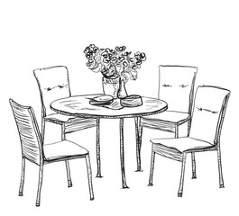 Furniture in summer cafe. Kitchen interior