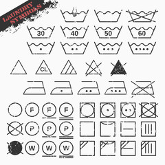Vector illustration of landry symbols set. 45 isolated grunge icons. Fully editable file for your projects.