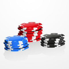 Casino chips stacks isolated on white, vector illustration