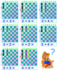 Funny chess. Exercises for children for studying multiplication table. Developing skills for counting. Vector image.