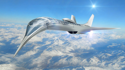 3D Rendering of a futuristic airplane flying above clouds, for science fiction or military aircraft backgrounds.