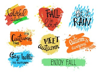 Hello autumn. Inspirational and motivational quotes, creative backgrounds. Hand drawn fall lettering.