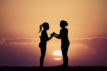 best friends at sunset