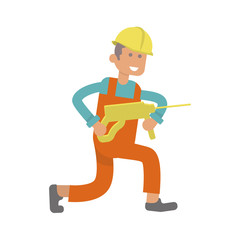 Character construction worker, laborer with perforator. Isolated on white background. Vector illustration eps10