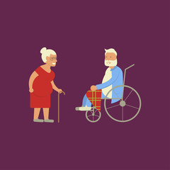Banner of Retired elderly senior age couple in creative flat vector character design. Grandpa and grandma standing full length smiling. Grandparents with walking stick and invalid chair isolated