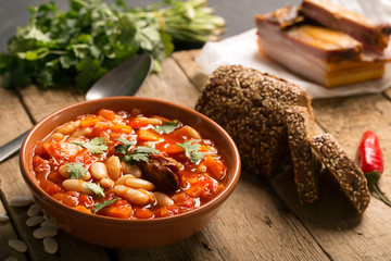 Rustic Kidney Bean Soup with beans and carrot