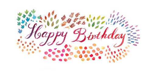 watercolor hand lettering happy birthday typography illustration