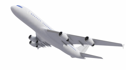 White Four-engine Airplane, White Aeroplane Isolated On White Background, Plane - 3d Model, Plane Concept - 3d Rendering