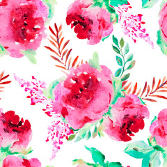 Seamless pattern with r roses and other flowers.