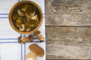 Soup of wild mushrooms
