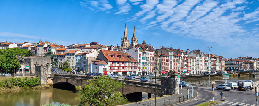 Panorama of Bayonne with bridge Pont du Genie across the Nive river on the front view, Aquitaine, France