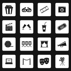 Cinema icons set in simple style. Movie elements set collection vector illustration