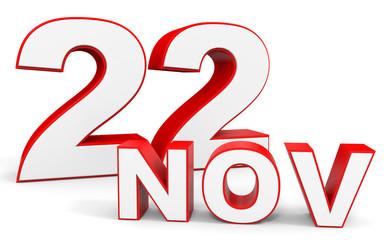 November 22. 3d text on white background.