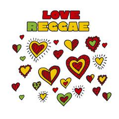 shabby boho style hearts reggae color music background. Jamaica