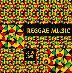 geometry reggae color music background. Jamaica poster vector il