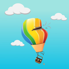 Colourful hot air balloon crash hole in the sky. vector illustration. with broken collide hole and fall air balloon