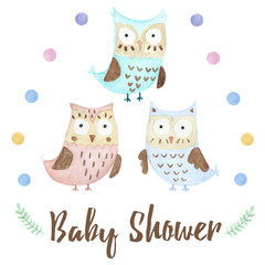 Baby shower card with a cute owl
