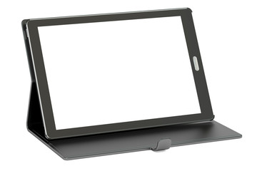 tablet computer with blank screen and case, 3D rendering