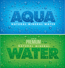 mineral water design with fresh water drops