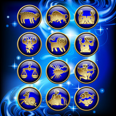 Set of glossy round zodiac icons with gold linear symbols on blue