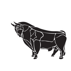 black and white engrave isolated bull