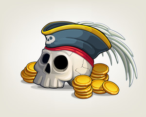 Skull pirate in hat with feather and gold coins. Vector illustration on a light background.