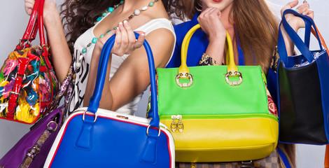 Leather handbags isolated
