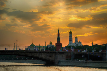 Moscow view, Russia. Moscow Kremlin towers at the sunset - Moscow architecture landscape.