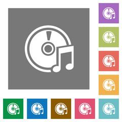 Audio CD square flat icons