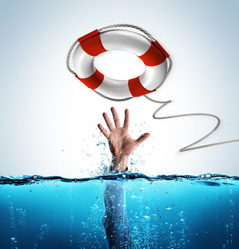 Rescue Concept - Lifebelt To Help Businessman In Drowning