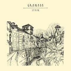 Granada, Spain, Europe. Vintage hand drawn vintage postcard